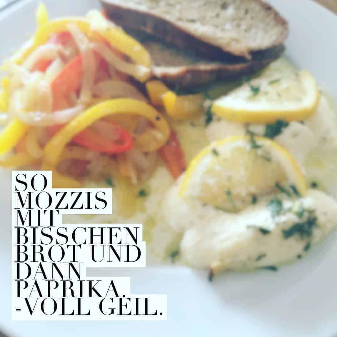 So Mozzis mit bisschen Brot und dann Paprika – voll geil